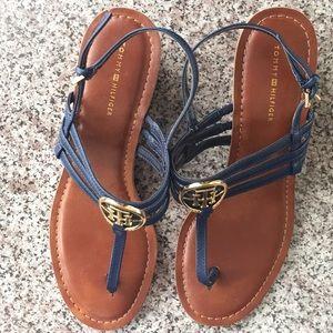NWOT! Tommy Hilfiger emblem navy blue wedge sandal